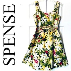 NEW SPENSE Floral Print Scoop Neck with Belt DRESS